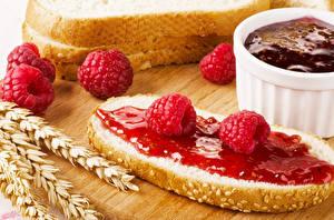 Fotos Butterbrot Konfitüre Himbeeren Brot Ähre Lebensmittel