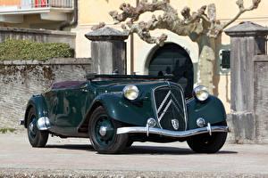 Bilder Citroen Retro Grün Metallisch Cabriolet 1938-39 Traction Avant 15-Six G Cabriolet Autos