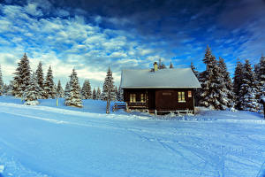 Desktop wallpapers Czech Republic Winter Houses Sky Snow Spruce Clouds Smedava Liberec Region Nature