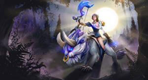 Photo DOTA 2 Archers Magical animals Mirana Sun Rays of light Games Fantasy Girls
