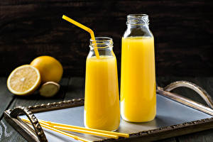 Wallpaper Drinks Juice Orange fruit Wood planks Bottles Two Food