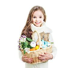 Picture Easter Alstroemeria White background Little girls Smile Wicker basket Eggs child