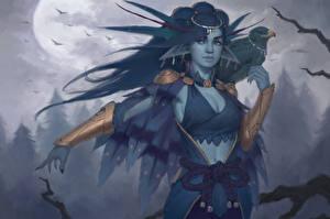 Hintergrundbilder Elfen Falken Nacht Mond Fantasy Mädchens
