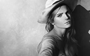 Wallpapers Emma Watson Painting Art Black and white Hat Staring Beautiful Celebrities Girls
