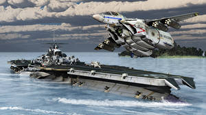 Wallpapers Airplane Fighter Airplane Aircraft carrier 3D Graphics Army Fantasy