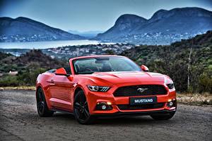 Hintergrundbilder Ford Rot Cabriolet Convertible Mustang Autos