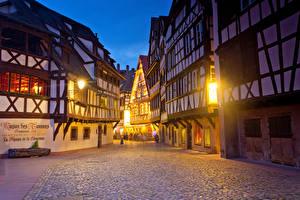 Bilder Frankreich Haus Abend Straßburg Straße Straßenlaterne