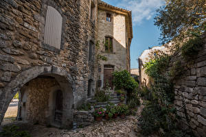 Pictures France Building Stairs Shrubs Made of stone Oppede Provence Cities