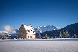 Bilder Deutschland Winter Gebirge Haus Wälder Himmel Bayern Schnee Fichten Kranzbach Natur