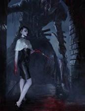 Hintergrundbilder Gotische Messer Ungetüm Legend of the Cryptids Blut Nacht Spiele Fantasy Mädchens