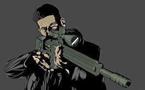 Pictures Superheroes Sniper rifle Men Vector Graphics Snipers Daredevil, The Punisher, Frank Castle Fantasy
