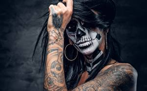 Pictures Holidays Hands Tattoos Makeup day of the dead Girls