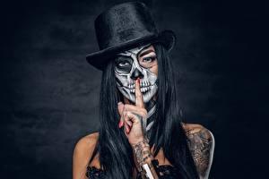 Image Holidays Hat Hands Tattoos Makeup Brunette girl day of the dead Girls