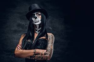 Pictures Holidays Hat Tattoos Hands Brunette girl Makeup day of the dead Girls