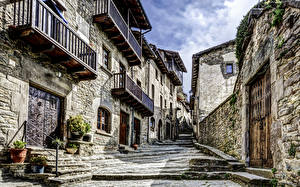 Wallpapers Building Spain Street Made of stone Stairs catalonia Cities