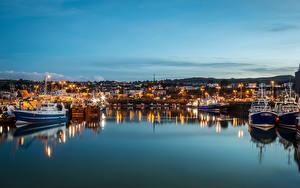 Hintergrundbilder Irland Seebrücke Abend Haus Motorboot Dublin Bucht Harbour Städte