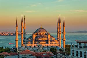 Bakgrundsbilder på skrivbordet Istanbul Turkiet Tempel Kväll Moské Blå moskén, Istanbul Yttertak stad