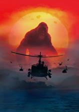 Hintergrundbilder Kong: Skull Island Affe Hubschrauber Film