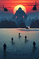 Wallpapers Kong: Skull Island Water Soldier Monkeys Sunrise and sunset Landing operation Movies