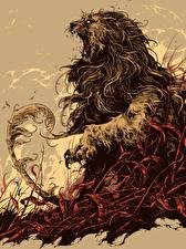 Pictures Lions Painting Art Roar Fantasy