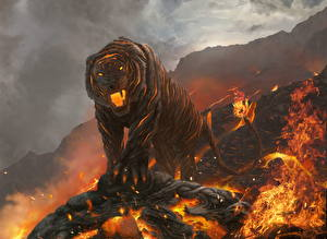 Images Magical animals Tiger Fire Lava Fantasy