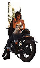 Wallpaper Motorcyclist Glasses Brown haired Sitting young woman