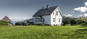 Photo Norway Houses Bush Grass Design Litla Hordaland Cities