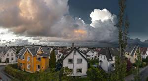 Wallpaper Norway Houses Clouds Street Stavanger Rogaland Cities