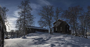 Pictures Norway Building Winter Evening Snow Trees Nord-Trondelag Cities