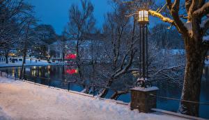 Wallpapers Norway Pond Winter Snow Street lights Stavanger Cities