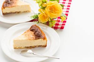 Fondos de escritorio Pastelón Requesón Tarta de queso Trozos Plato Tenedor