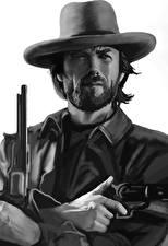 Wallpapers Pistol Clint Eastwood Painting Art Man Black and white Hat Beard Beautiful Celebrities
