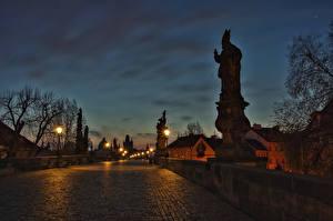 Picture Prague Czech Republic Building Bridge Sculptures Night Street lights Cities