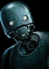 Bakgrundsbilder på skrivbordet Rogue One: A Star Wars Story Robot Svart bakgrund Huvud K-2SO