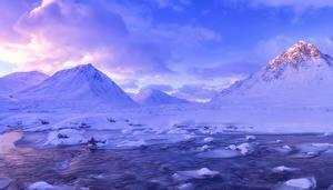 Fotos Schottland Gebirge Winter Himmel Landschaftsfotografie Schnee Bach Glen Coe Natur