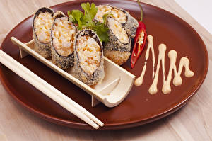 Image Seafoods Sushi Boards Wood planks Plate Chopsticks Food