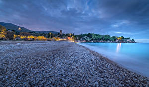 Sfondi desktop Sicilia Italia La costa Serata Pietre