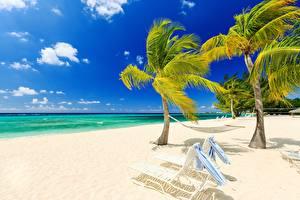 Hintergrundbilder Himmel Meer Strand Palmen Sonnenliege Hängematte Natur