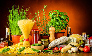 Hintergrundbilder Stillleben Wurst Käse Gewürze Knoblauch Makkaroni