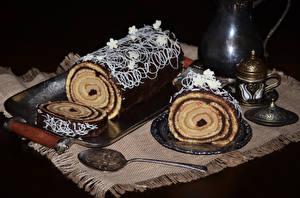 Hintergrundbilder Süßware Roulade Schokolade Löffel