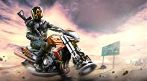 Wallpaper Technics Fantasy Motorcyclist Helmet Jacket