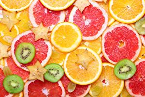 Fotos Textur Zitrusfrüchte Orange Frucht Grapefruit Kiwifrucht Geschnitten Lebensmittel
