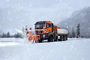 Photo Lorry Winter Snow Driving 2008-17 MAN TGS 28.440 Cars