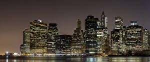 Hintergrundbilder USA Wolkenkratzer Manhattan New York City Nacht