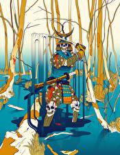 Picture Undead Samurai Swamp Swords Fantasy