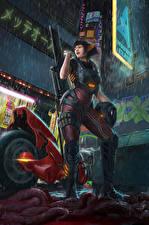 Fotos Krieger Scharfschützengewehr Regen Motorradfahrer Fantasy Mädchens