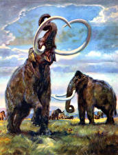 Hintergrundbilder Alte Tiere Mammute Zdenek Burian Parelephas trogontherii Tiere