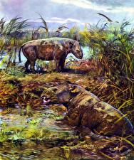 Picture Ancient animals Zdenek Burian Swamp Metamynodon Animals