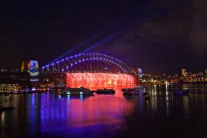 Hintergrundbilder Australien Brücken Schiffe Sydney Nacht Lichterkette