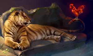 Fotos Große Katze Tiger Gezeichnet Hahn ein Tier